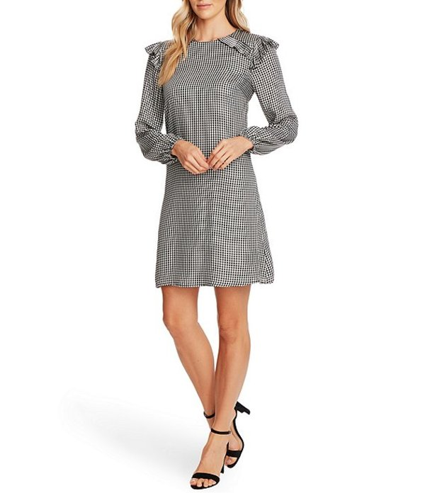 セセ レディース ワンピース トップス Long Sleeve Gingham Dress Soft Ecru