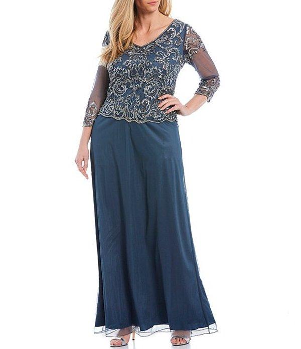ジェーカラ レディース ワンピース トップス Plus Size Beaded Bodice 3/4 Illusion Sleeve Gown Slate