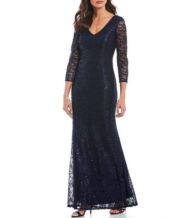 マリナ レディース ワンピース トップス Sequin Lace V-Neck 3/4 Illusion Lace Sleeve Gown Navy