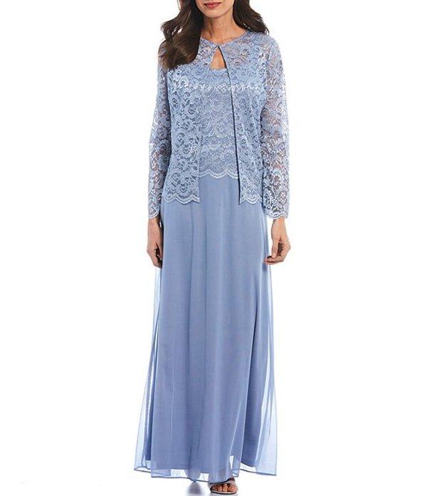 マリナ レディース ワンピース トップス Glitter Lace Jacket Long Gown Light Blue
