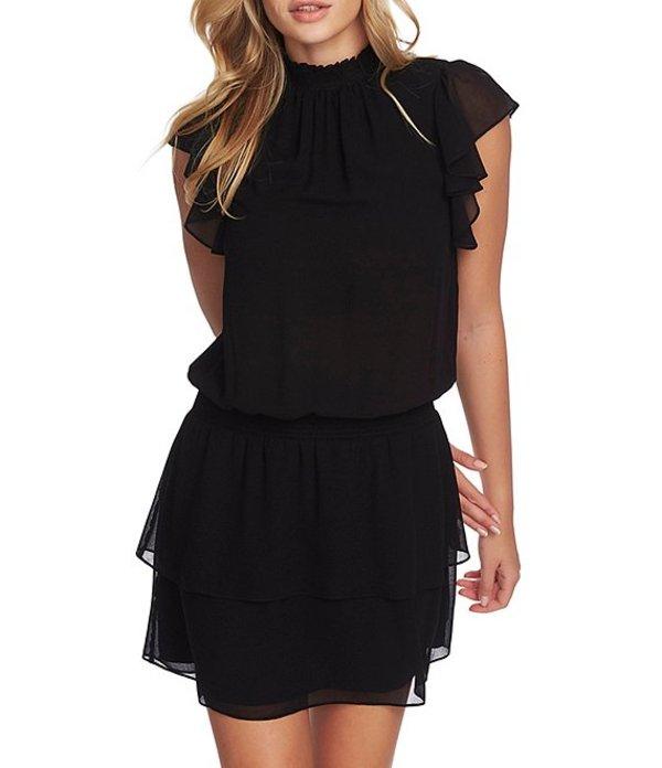 ワンステート レディース ワンピース トップス Smocked Flutter Cap Sleeve Dress Rich Black