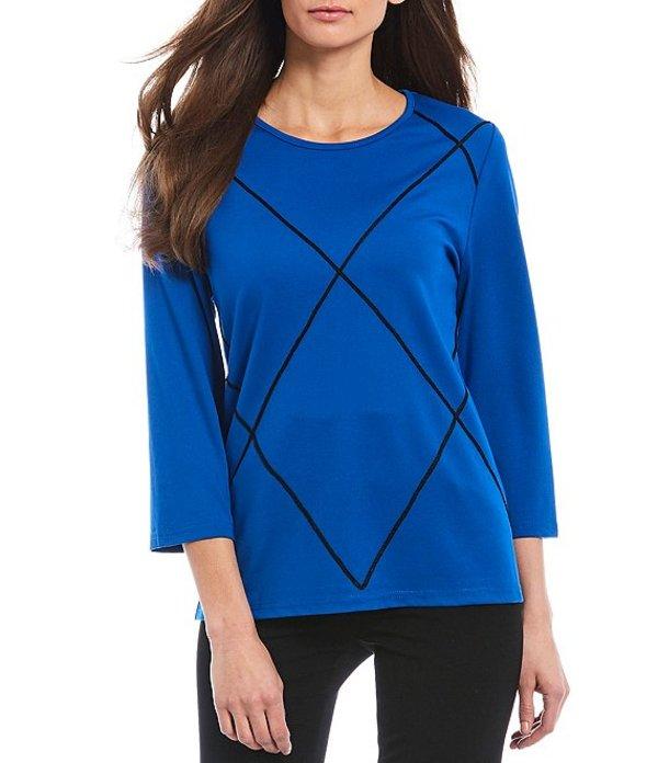 インベストメンツ レディース Tシャツ トップス Petite Size 3/4 Sleeve Geometric Soutache Top Blue/Black