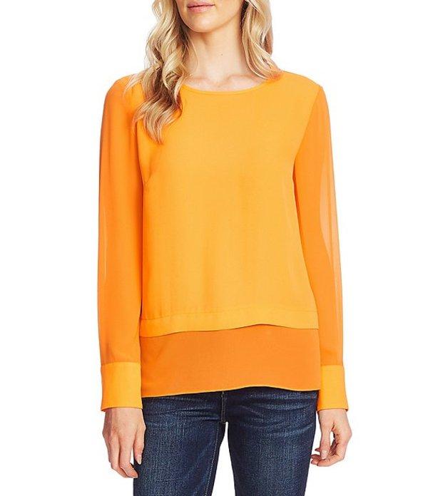 ヴィンスカムート レディース シャツ トップス Long Sleeve Layered Chiffon Blouse Electric Orange
