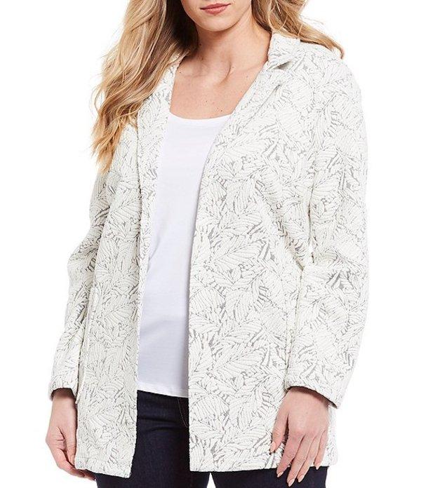 チェルシーアンドセオドール レディース ジャケット・ブルゾン アウター Plus Size Knit Jacquard Long Sleeve Notch Collar Jacket Print