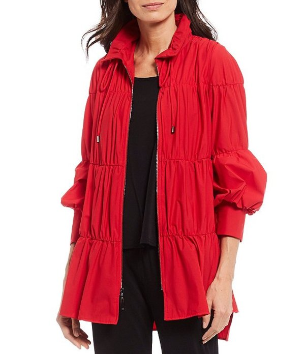 アイシーコレクション レディース ジャケット・ブルゾン アウター Bubble Shirring Hi-Low Hem Jacket Red