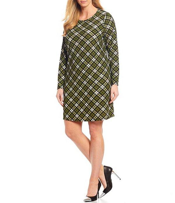 マイケルコース レディース ワンピース トップス Plus Size Bias Plaid Print Long Sleeve Shift Dress Evergreen