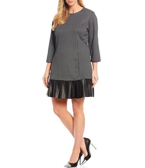 マイケルコース レディース ワンピース トップス Plus Size Micro-Check Print 3/4 Sleeve Contrast Flare Hem Dress Black/White