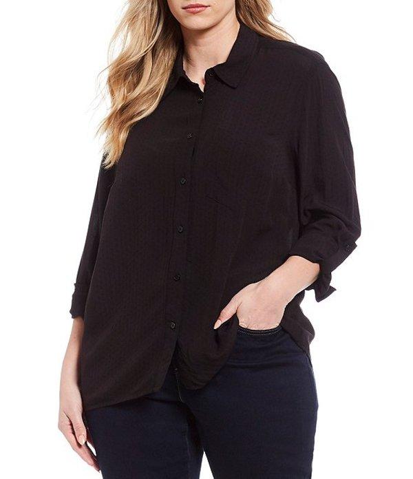 マイケルコース レディース シャツ トップス Plus Size Roll-Tab Sleeve Button Down Oversize Shirt Black