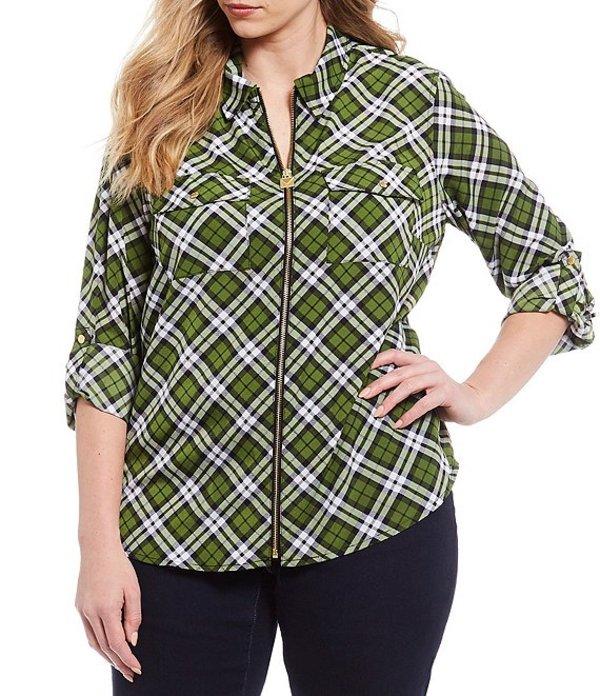 マイケルコース レディース シャツ トップス Plus Size Bias Plaid Print Pebble Crepe Roll-Tab Sleeve Zip Front Top Evergreen