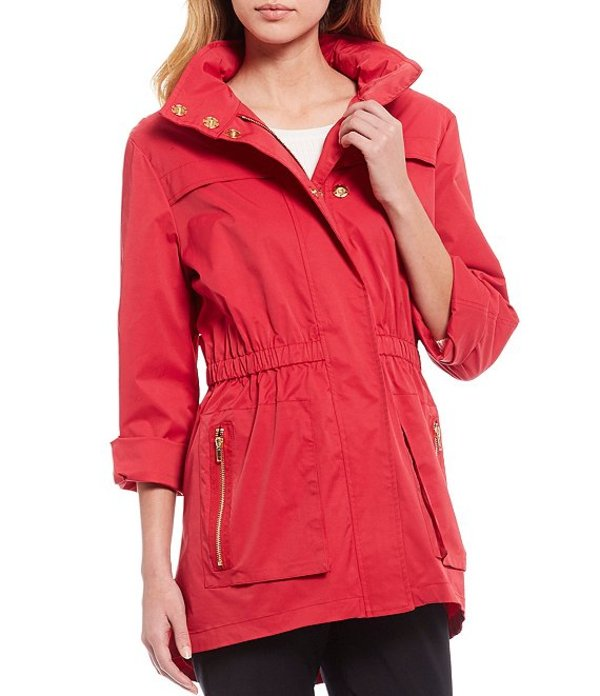 アントニオ メラーニ レディース ジャケット・ブルゾン アウター Erin Raincoat with Detachable Hood Red