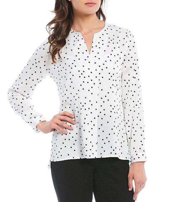インベストメンツ レディース シャツ トップス Petite Size Long Sleeve Polka Dot Print Split Neck Top Polka Dots