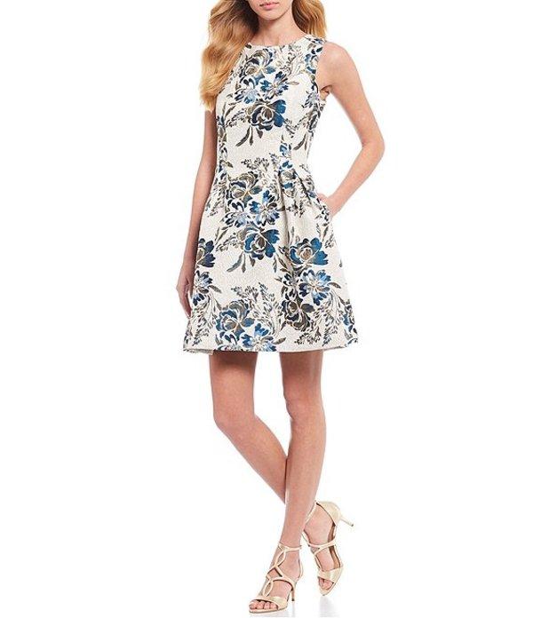 ヴィンスカムート レディース ワンピース トップス Sleeveless Metallic Floral Print Jacquard Fit and Flare Dress Ivory Blue