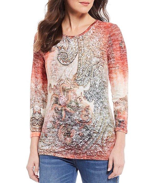 レバ レディース Tシャツ トップス Ombre Jersey Knit Paisley Print Tee Multi