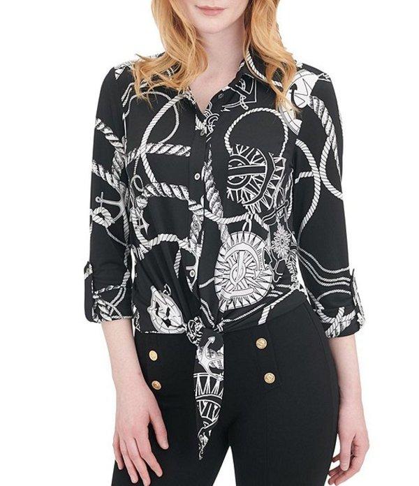 ピーター ナイガード レディース シャツ トップス Nautical Rope Print Knit Chiffon Tie Front Shirt Black/White/Nautical