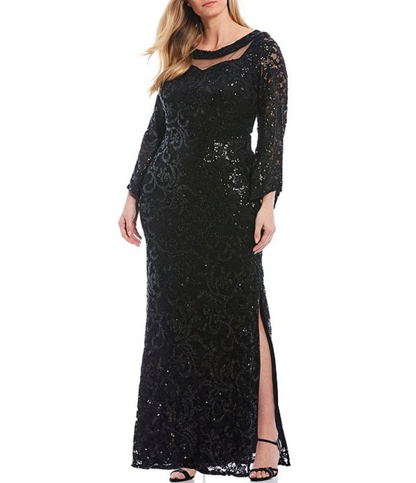ルボ レディース ワンピース トップス Plus Size Embroidered Sequin Lace Side Slit Gown Black
