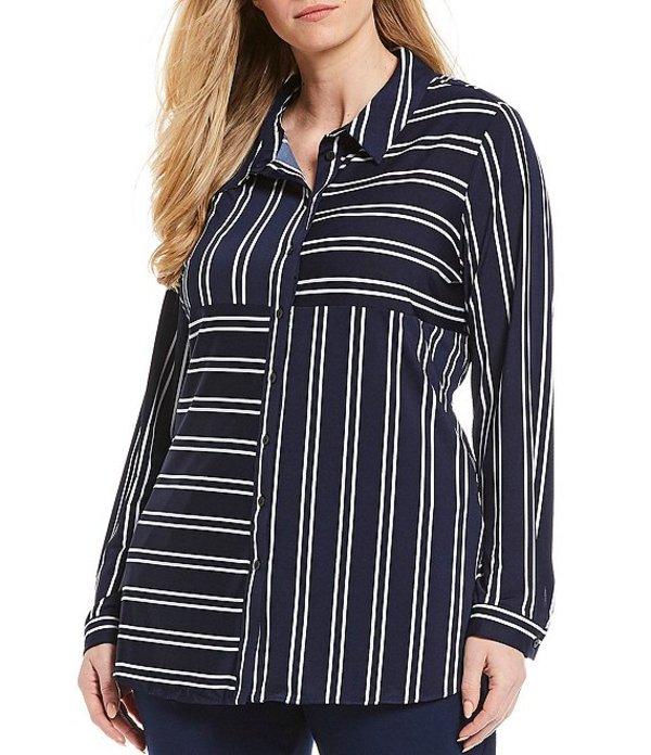 アリソン デイリー レディース シャツ トップス Plus Size Stripe Patchwork Print Long Sleeve Button Front Shirt Navy White Stripe