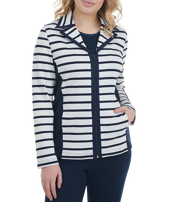 アリソン デイリー レディース ジャケット・ブルゾン アウター Petite Size Stripe Ponte Knit Side Panel Zip Front Jacket Navy White Stripe