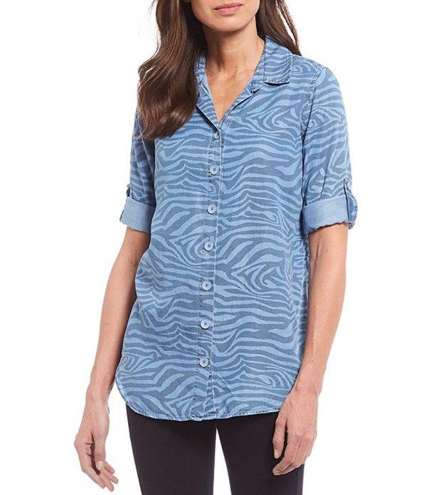 イントロ レディース シャツ トップス Indigo Zebra Print Lyocell Roll-Tab Sleeve Button Down Shirt Moon Wash
