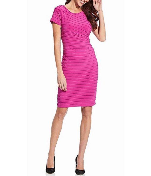 アドリアナ パペル レディース ワンピース トップス Pinktucked Matte Jersey Sheath Dress Hot Pink