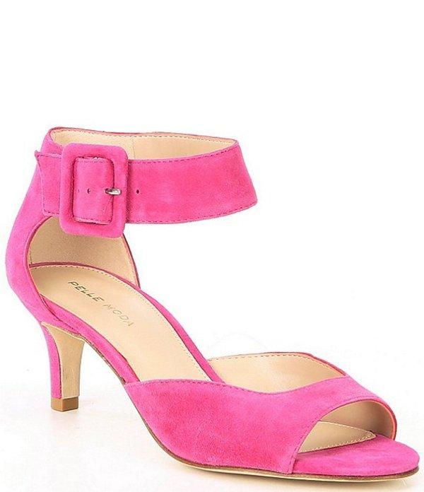 ペレモーダ レディース サンダル シューズ Berlin Peep-Toe Kitten-Heel Suede Ankle Strap Dress Sandals Magenta