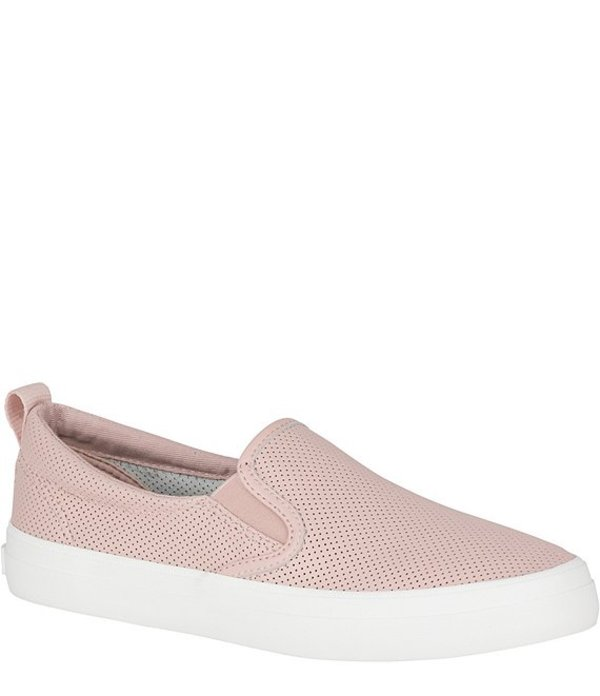 スペリー レディース スリッポン・ローファー シューズ Crest Twin Gore Mini Perforated Leather Slip-On Sneakers Rose Dust/White