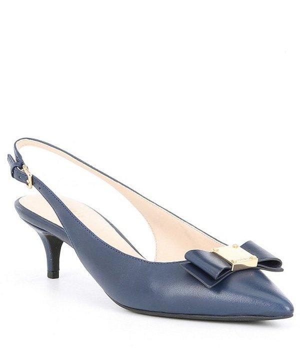 コールハーン レディース ヒール シューズ Tali Leather Bow Kitten Heel Slingback Pumps Marine Blue