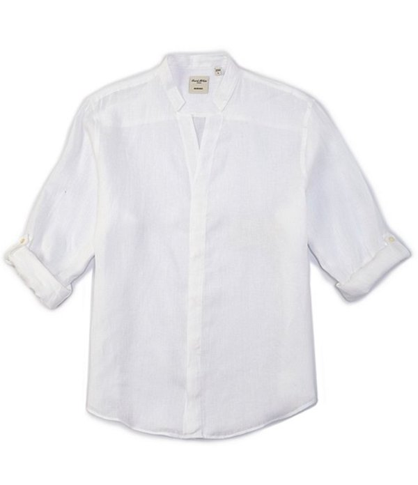 ムラノ メンズ シャツ トップス Solid Linen Johnny Collar Roll-Sleeve Woven Shirt White