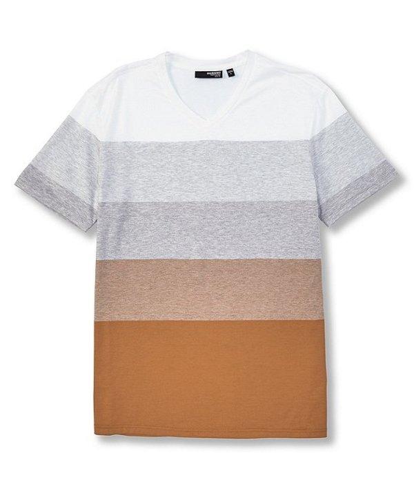 ムラノ メンズ シャツ トップス Liquid Luxury Slim-Fit Stripe V-Neck Tee Khaki