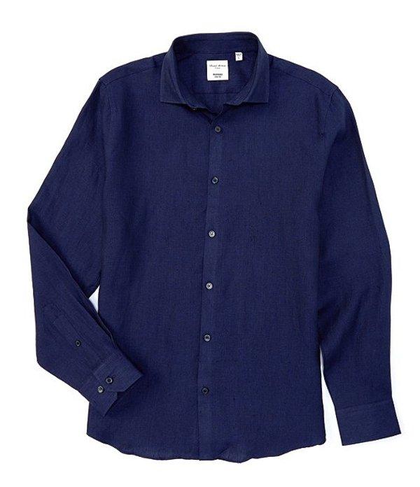 ムラノ メンズ シャツ トップス Slim-Fit Linen Long-Sleeve Woven Shirt Navy