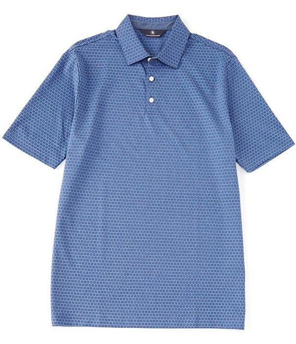 ハート シャフナー マルクス メンズ シャツ トップス Short Sleeve Circle Print Self Collar Polo Blue