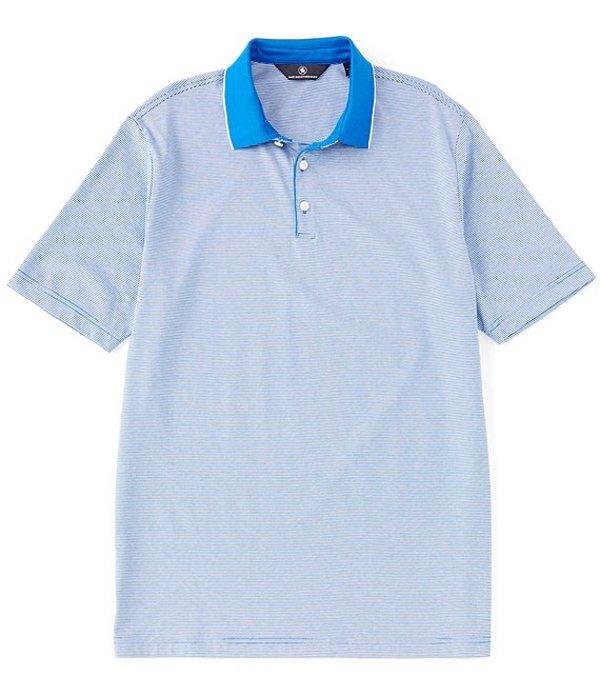 ハート シャフナー マルクス メンズ シャツ トップス Short Sleeve Horizontal Stripe Rib Collar Polo Blue