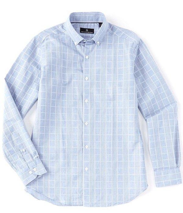 ハート シャフナー マルクス メンズ シャツ トップス Long Sleeve Linen Checked Sportshirt Blue