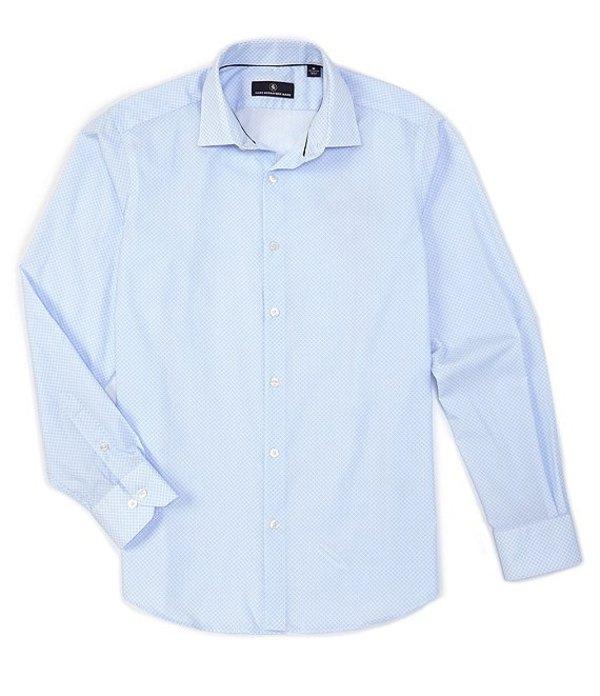 ハート シャフナー マルクス メンズ シャツ トップス Long Sleeve Diamond Print Sportshirt Blue