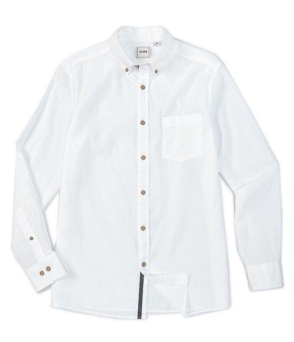 ラウン メンズ シャツ トップス Long-Sleeve Solid Seersucker Sportshirt White