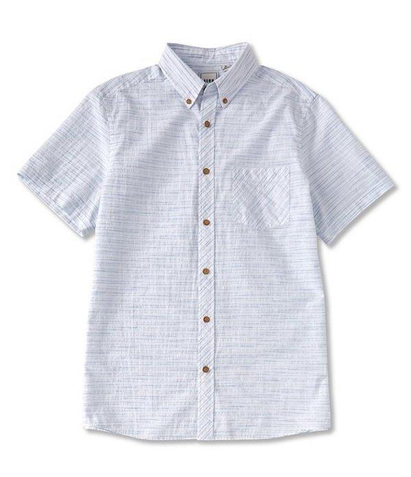ラウン メンズ シャツ トップス Short-Sleeve Horizontal Striped Seersucked Sportshirt White