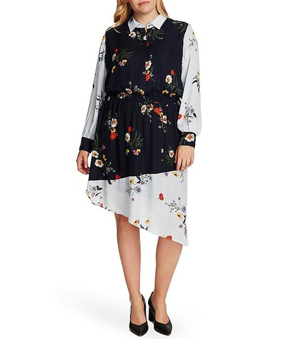 ヴィンスカムート レディース ワンピース トップス Plus Size Long Sleeve Collared Floral Print Asymmetrical Hem Dress Caviar
