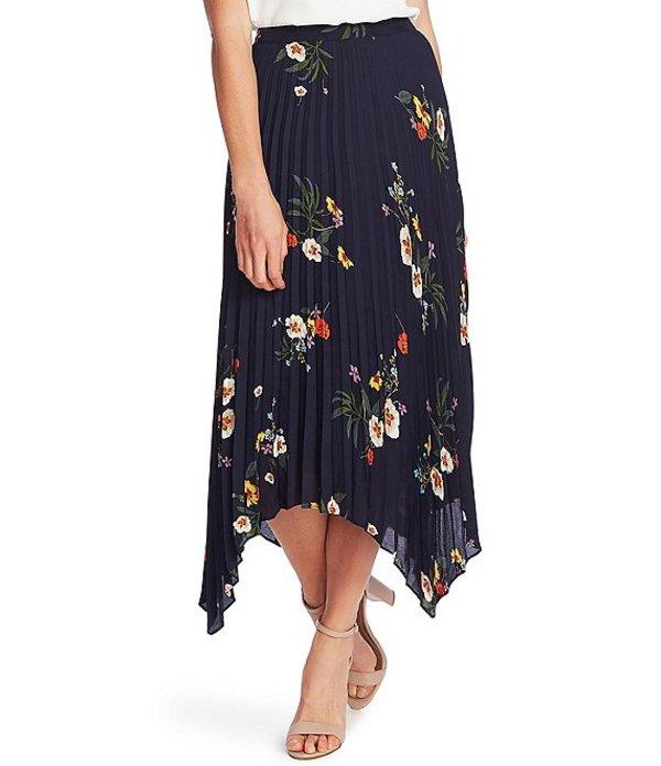 ヴィンスカムート レディース スカート ボトムス Floral Pleated Asymmetrical Midi Skirt Caviar
