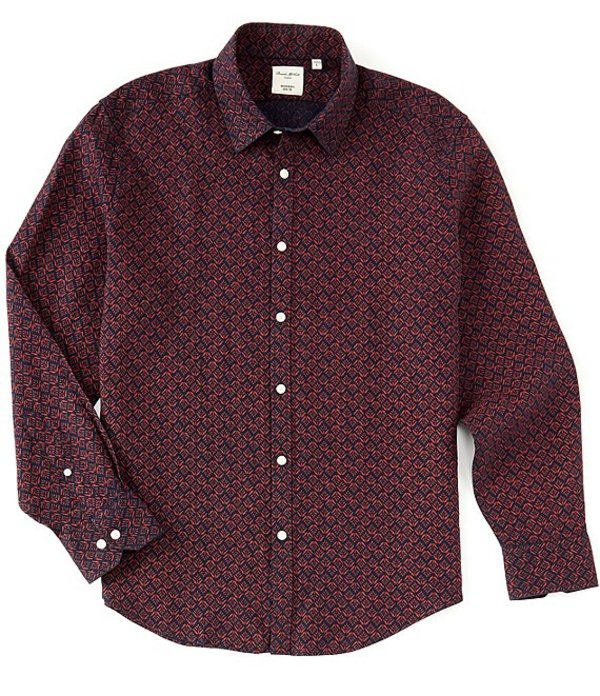 ムラノ メンズ シャツ トップス Floral Print Linen Long-Sleeve Woven Shirt Navy