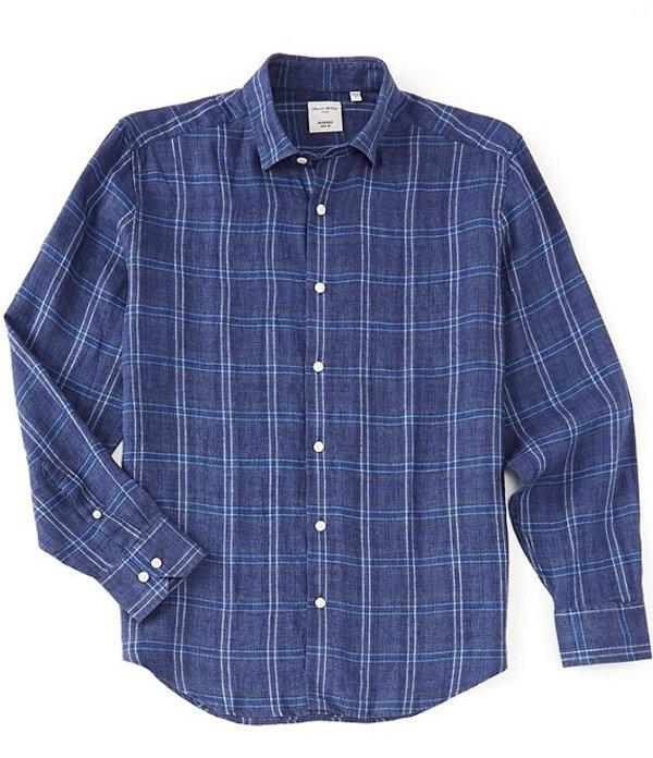 ムラノ メンズ シャツ トップス Large Plaid Linen Long-Sleeve Woven Shirt Blue