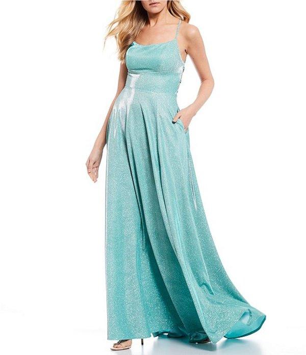 ビーダーリン レディース ワンピース トップス Spaghetti Strap Shine X-Back Long Dress Aqua