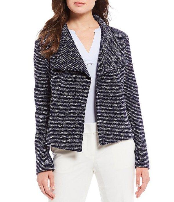 カルバンクライン レディース ジャケット・ブルゾン アウター Tweed Textured Knit Open-Front Jacket Blue Multi