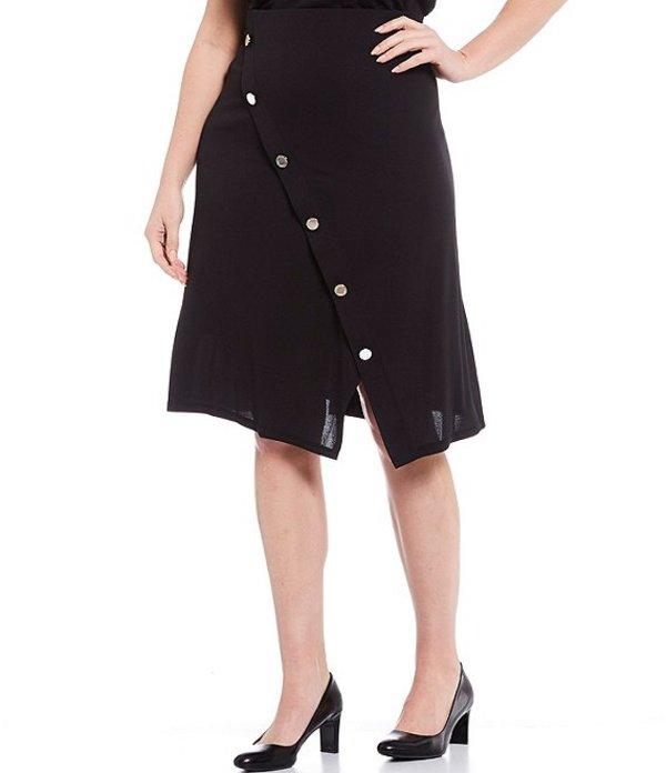 カルバンクライン レディース スカート ボトムス Plus Size Stretch Crepe Asymmetrical Button Trim Skirt Black