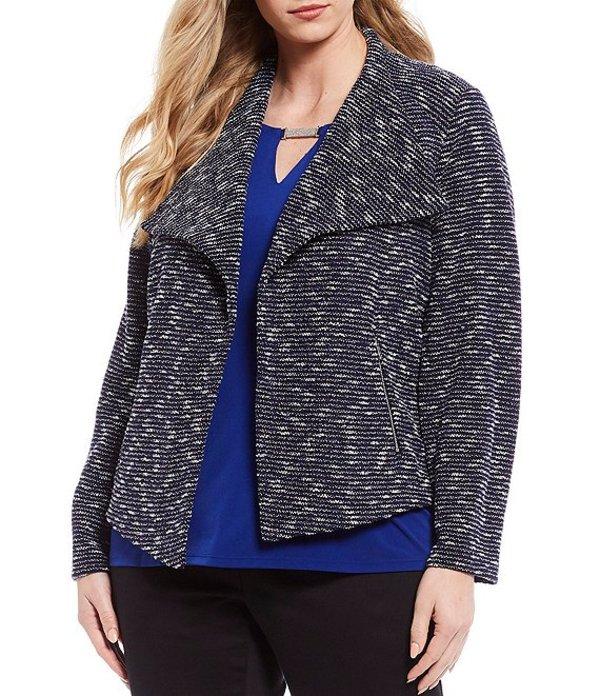カルバンクライン レディース ジャケット・ブルゾン アウター Plus Size Tweed Textured Knit Open Front Jacket Blue Multi