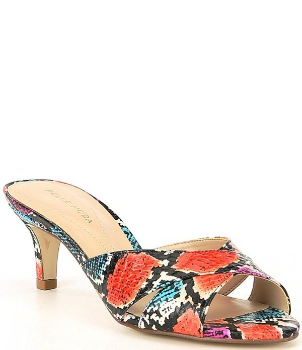 ペレモーダ レディース ヒール シューズ Bea2 Snake Print Leather Slide Sandals Bright Multi