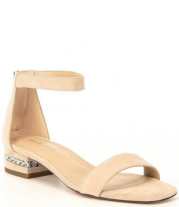 ペレモーダ レディース サンダル シューズ Nicole Suede Embellished Block Heel Dress Sandals Beige Suede