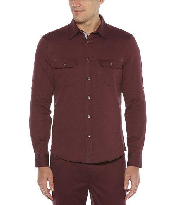 ペリーエリス メンズ シャツ トップス Big & Tall Solid Untucked Twill Roll-Sleeve Woven Shirt Fig