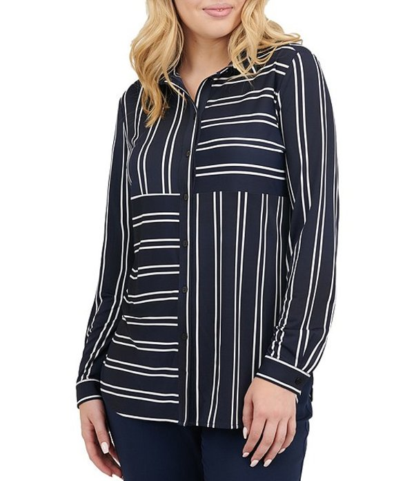 アリソン デイリー レディース シャツ トップス Petite Size Stripe Patchwork Print Long Sleeve Button Front Shirt Navy White Stripe