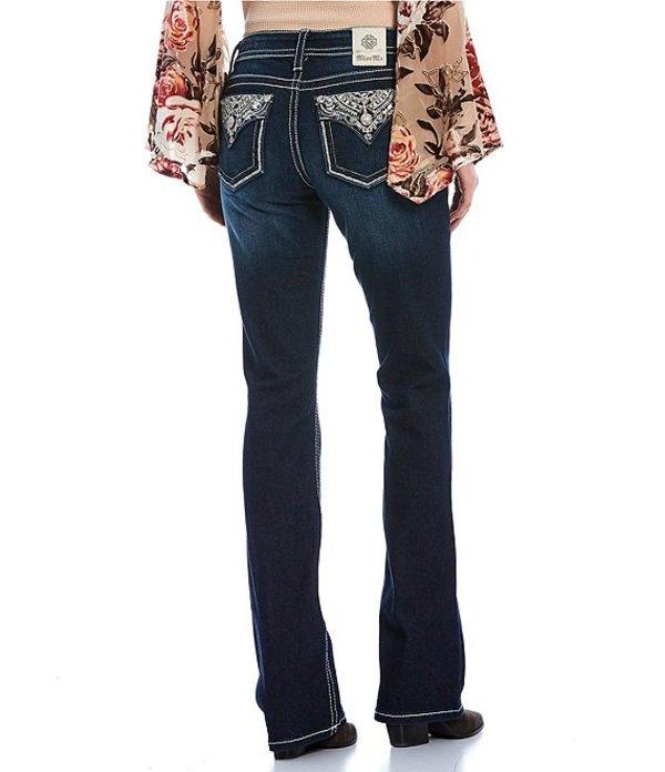 ミスミー レディース デニムパンツ ボトムス Live Bright Metallic Glitz Flap Pocket Bootcut Jeans Dark Blue