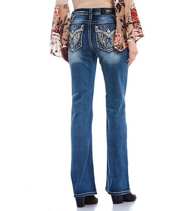 ミスミー レディース デニムパンツ ボトムス Roll With Me Sequin Angel Wing Flap Pocket Bootcut Jeans Medium Blue