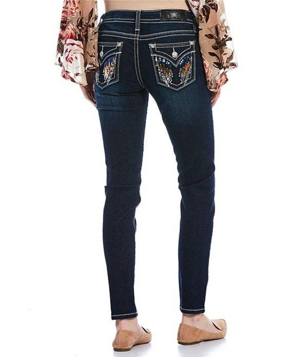 ミスミー レディース デニムパンツ ボトムス Shiny Wing Sequin Flap Pocket Skinny Jeans Dark Blue